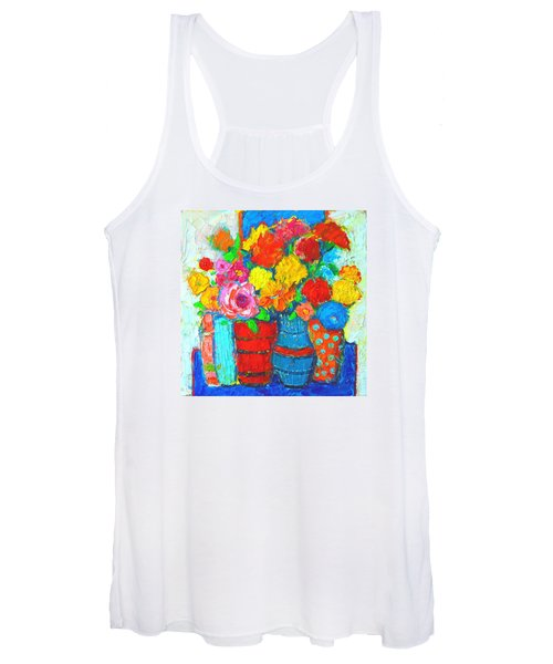Colorful Vases And Flowers - Abstract Expressionist Painting Women's Tank Top