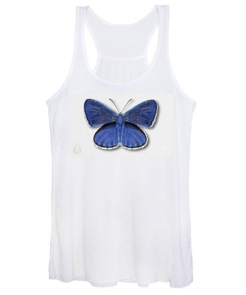 Common Blue Butterfly - Polyommatus Icarus Butterfly Naturalistic Painting - Nettersheim Eifel Women's Tank Top