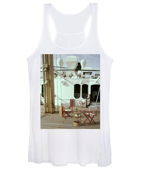 Directors Chairs In Front Of The Ship The Queen Women's Tank Top