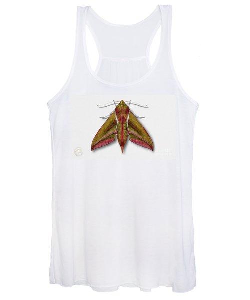 Elephant Hawk Moth Butterfly - Deilephila Elpenor Naturalistic Painting - Nettersheim Eifel Women's Tank Top