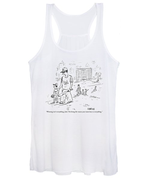 Father Speaks To Son As They Walk Hand In Hand Women's Tank Top