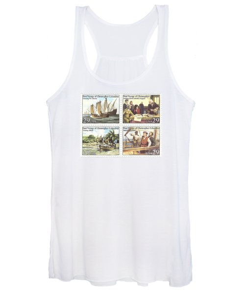 First Voyage Of Christopher Columbus Commemorative Stamp Block Women's Tank Top