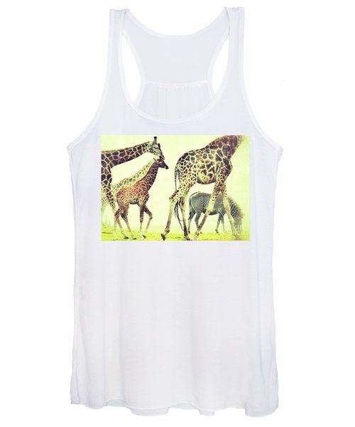 Giraffes And A Zebra In The Mist Women's Tank Top
