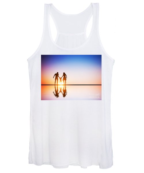 Happy Family Together Parents And Their Child At Sunset Women's Tank Top