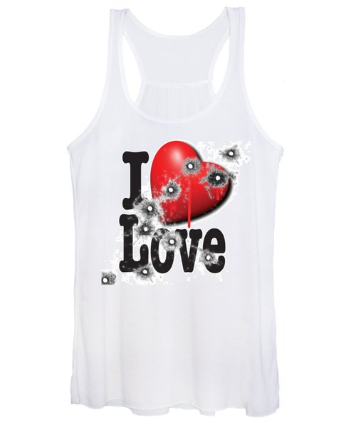 Heart Series Love Bullet Holes In Paintings Women's Tank Top