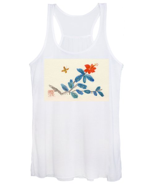 Hibiscus With Butterfly Women's Tank Top