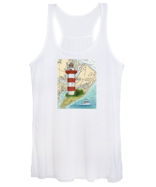Hilton Head Island Lighthouse Sc Nautical Chart Map Art Cathy Peek Women's Tank Top