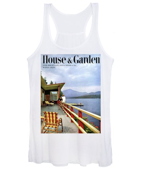 House & Garden Cover Of Women Sitting On The Deck Women's Tank Top