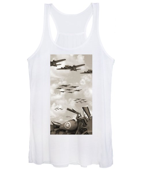 Indian 841 And The B-17 Panoramic Sepia Women's Tank Top