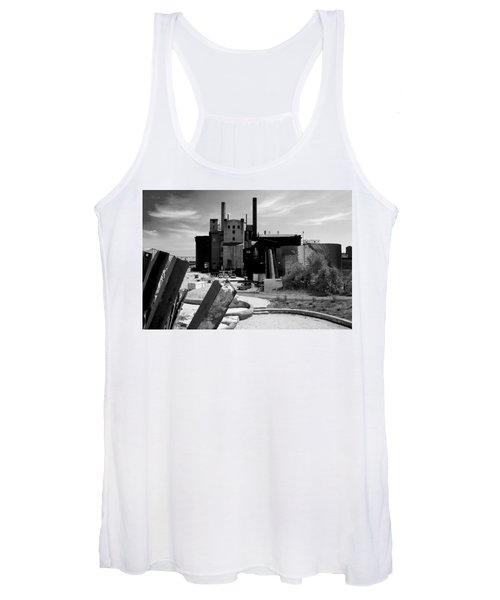 Industrial Power Plant Landscape Smokestacks Women's Tank Top