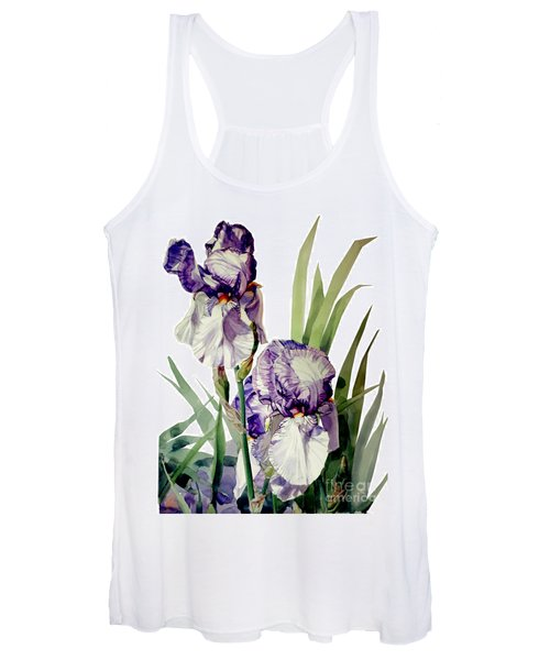 Watercolor Of A Tall Bearded Iris In Violet And White I Call Iris Selena Marie Women's Tank Top