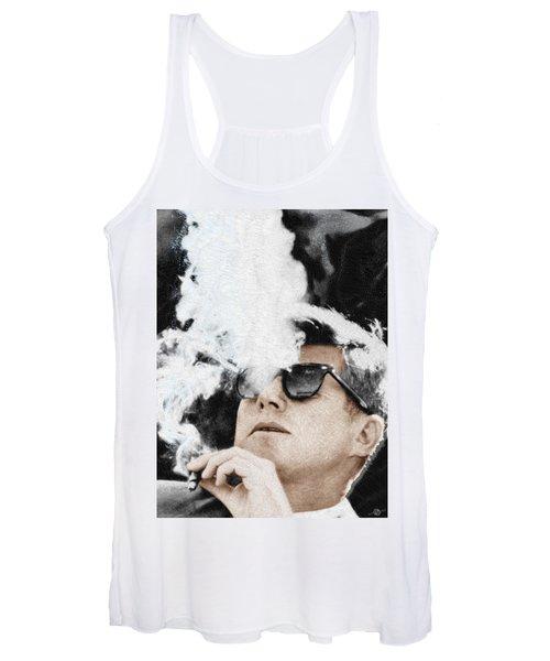 John F Kennedy Cigar And Sunglasses Women's Tank Top