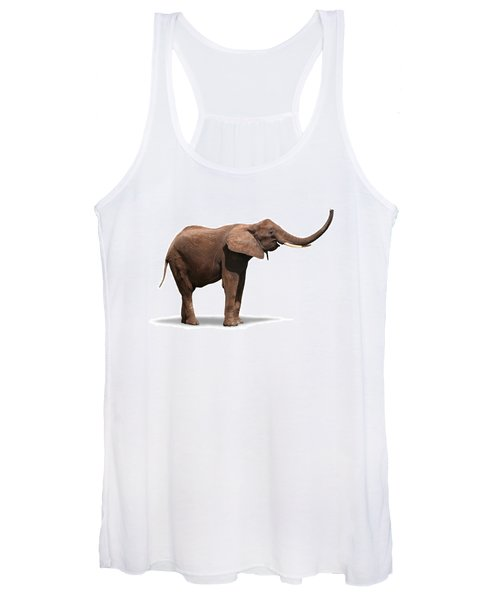 Joyful Elephant Isolated On White Women's Tank Top