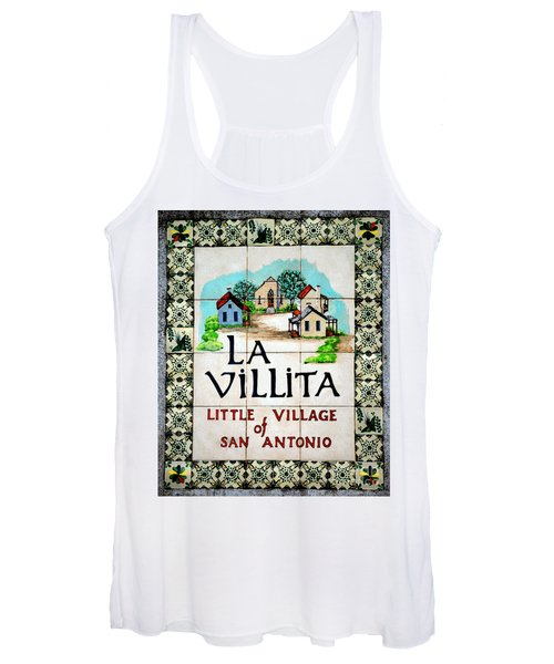 La Villita Tile Sign On The Riverwalk San Antonio Texas Watercolor Digital Art Women's Tank Top