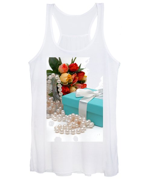 Little Blue Gift Box With Pearls And Flowers Women's Tank Top