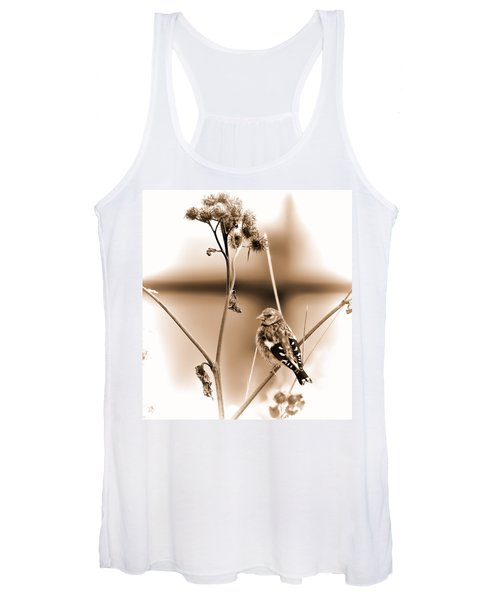 Looking Sep Small Brown Grey Yellow And Black Bird Posing For Portrait On A Branch Of A Plant Women's Tank Top