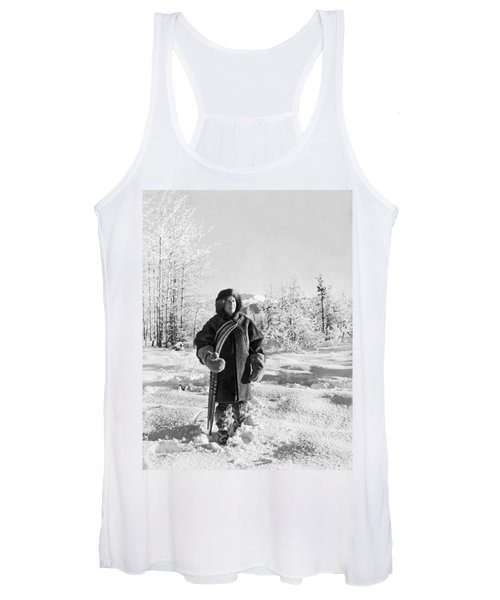 Man With Parka And Snowshoes Women's Tank Top
