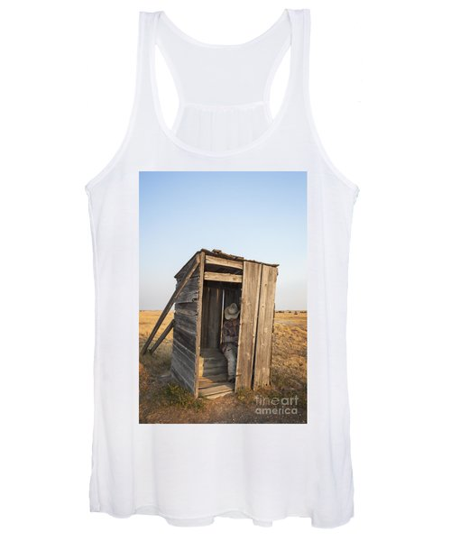 Mannequin Sitting In Old Wooden Outhouse Women's Tank Top