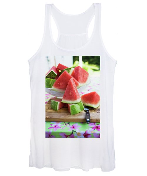 Many Pieces Of Watermelon In A Glass Bowl Women's Tank Top