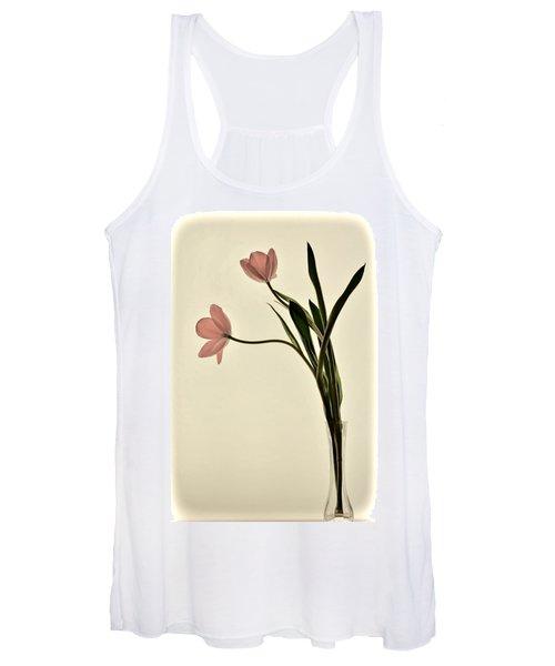 Mauve Tulips In Glass Vase Women's Tank Top