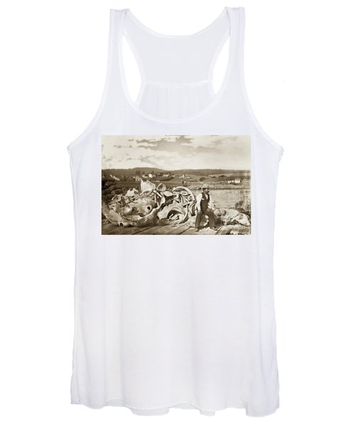 Michael Noon Sitting On A  Pile Of Whale Bones Monterey Wharf  Circa 1896 Women's Tank Top