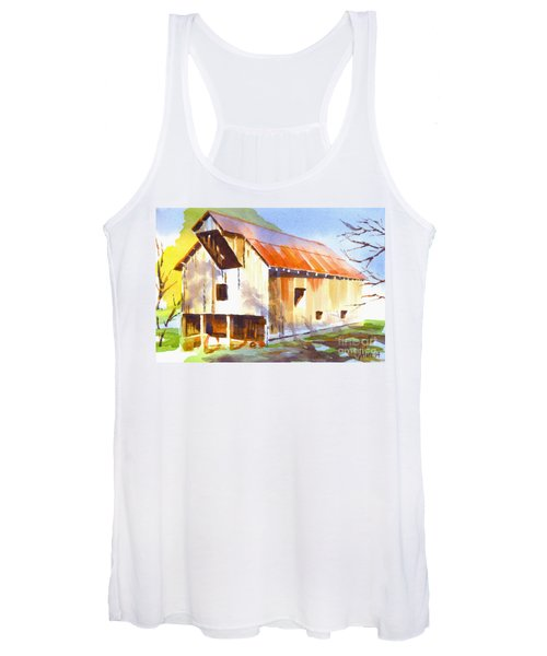 Missouri Barn In Watercolor Women's Tank Top