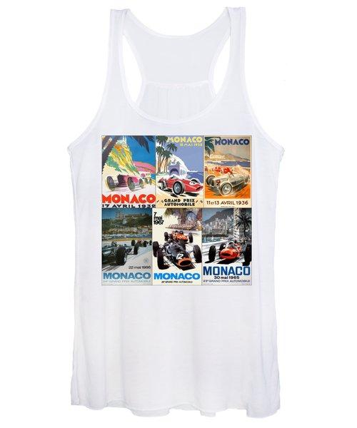 Monaco F1 Grand Prix Vintage Poster Collage Women's Tank Top