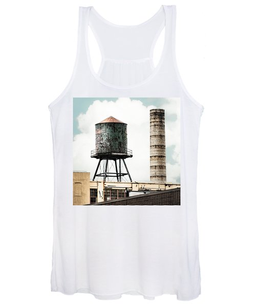 Water Tower And Smokestack In Brooklyn New York - New York Water Tower 12 Women's Tank Top
