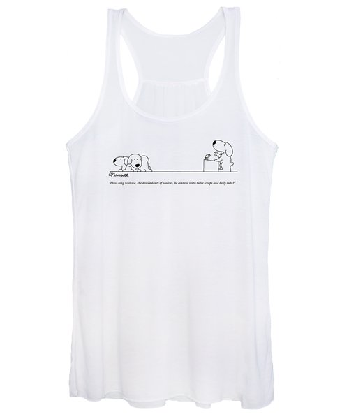 One Dog Speaks On A Podium To Several Women's Tank Top