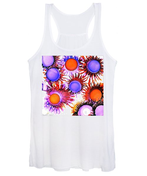 Orange And Purple Alcohol Inks Abstract Women's Tank Top