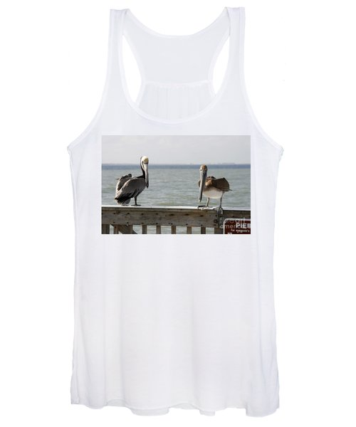 Pelicans On The Pier At Fort Myers Beach In Florida Women's Tank Top