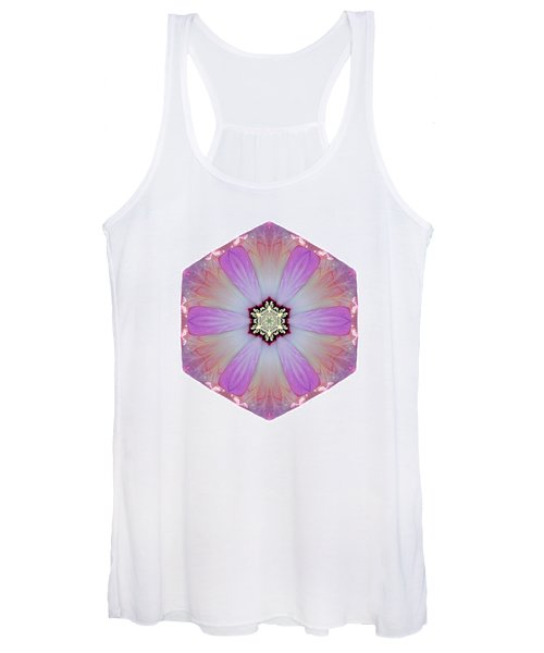 Pink And White Hibiscus Moscheutos I Flower Mandala White Women's Tank Top