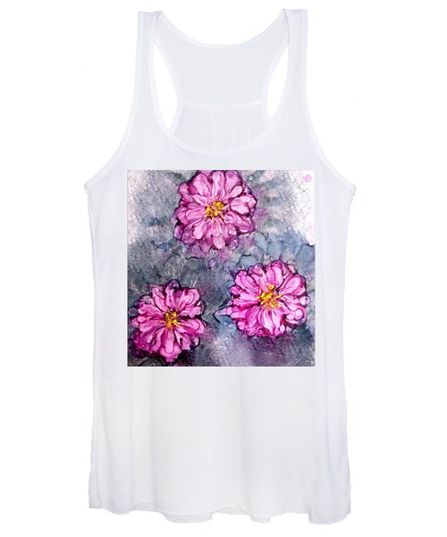 Pink Dahlia Blooms Alcohol Inks Women's Tank Top