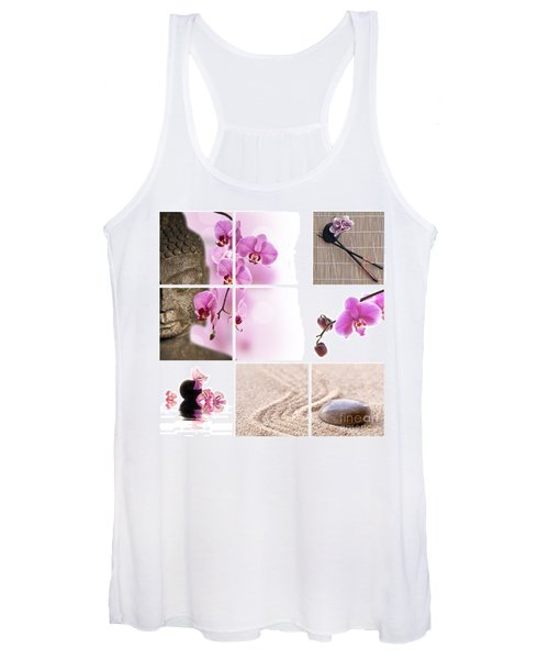 Pink Orchid And Buddha Collage Women's Tank Top