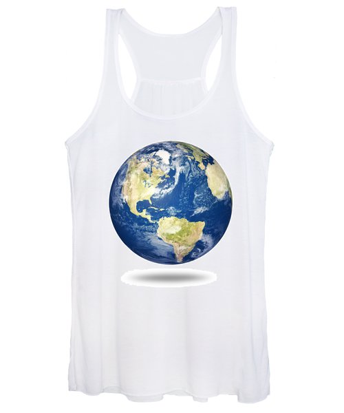Planet Earth On White - America Women's Tank Top