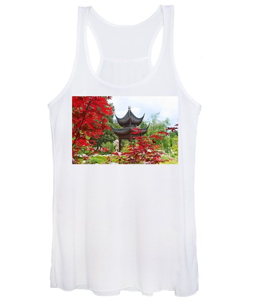 Red - Chinese Garden With Pagoda And Lake. Women's Tank Top