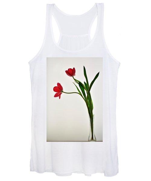 Red Flowers In Glass Vase Women's Tank Top