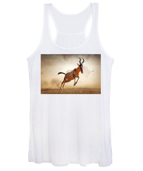 Red Hartebeest Running In Dust Women's Tank Top