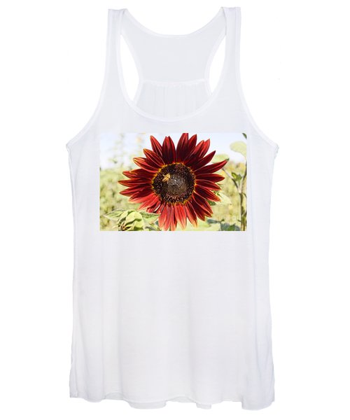 Red Sunflower And Bee Women's Tank Top