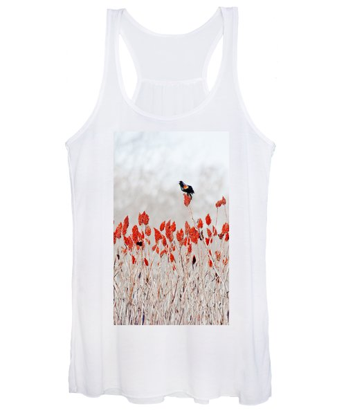Red Winged Blackbird On Sumac Women's Tank Top