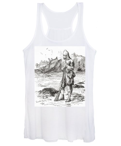 Robinson Crusoe On The Desert Island After Being Shipwrecked.  From Adventures Of Robinson Crusoe Women's Tank Top