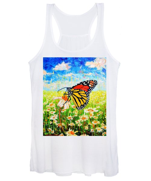 Royal Monarch Butterfly In Daisies Women's Tank Top