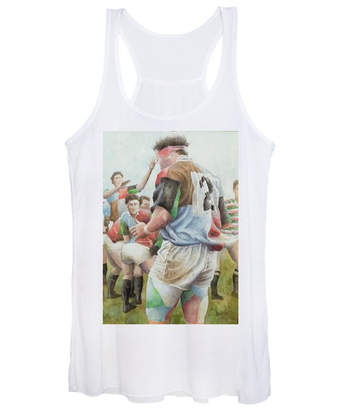 Rugby Match Harlequins V Northampton, Brian Moore At The Line Out, 1992 Wc Women's Tank Top