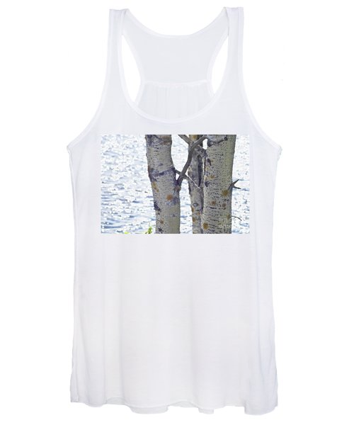 Silver Birch Trees At A Sunny Lake Women's Tank Top