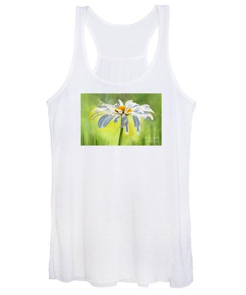 Single White Daisy Blossom Women's Tank Top