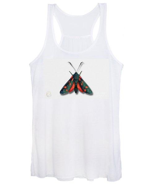 Six Spot Burnet Butterfly - Zygaena Filipendulae Naturalistic Painting - Nettersheim Eifel Women's Tank Top