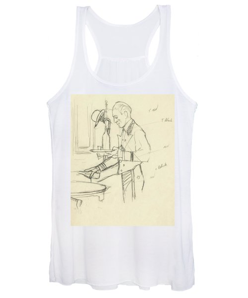 Sketch Of Waiter Pouring Wine Women's Tank Top