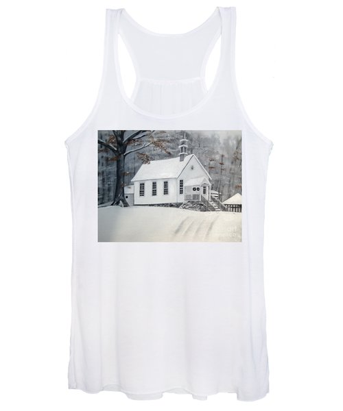 Snowy Gates Chapel  -little White Church - Ellijay Women's Tank Top