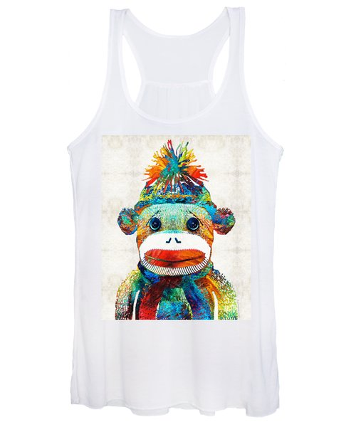 Sock Monkey Art - Your New Best Friend - By Sharon Cummings Women's Tank Top