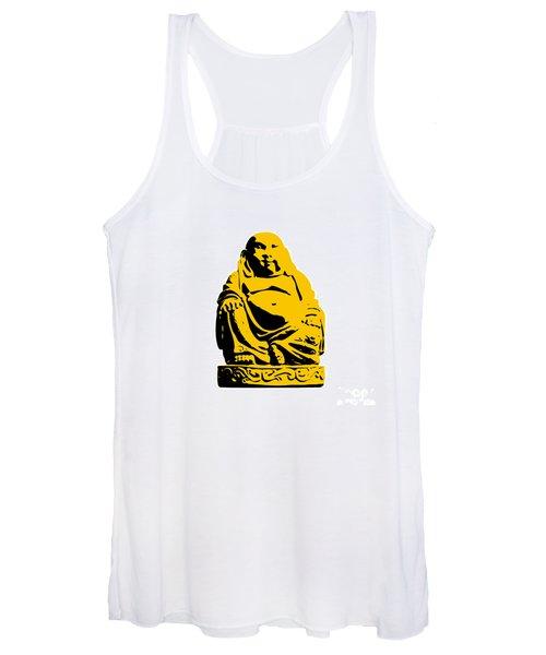 Stencil Buddha Yellow Women's Tank Top